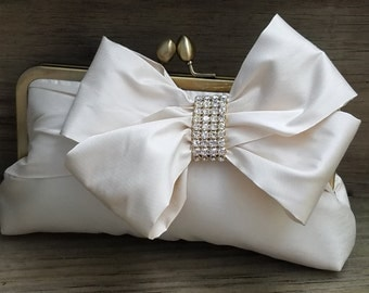 Ivory Bridal Clutch with Rhinestones, Bow Clutch, Black Evening Bag, White Wedding purse{Glam'd Up Pretty}  (Choose Your Color)