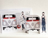 Cutout Campervan Greetings Card and Badge