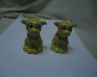 Vintage Yellow Dog Salt and Pepper Shakers, Have Stoppers, collectable, sitting, Made in Japan.
