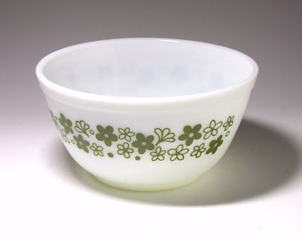 Vintage Pyrex Green Bowl with Spring Blossom Pattern - circa 1970's