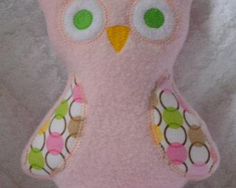 Handmade Stuffed Pink Fleece Owl