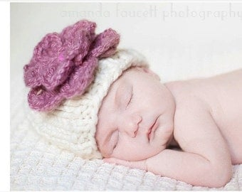 Knit Baby Flower Beanie, Knit Baby Hat, Baby Girl Hat, Flower Baby Hat, Baby Flower Hat, Newborn Photo Prop