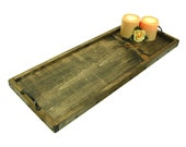Long Decorative Tray, Wood Serving Tray, Long Wooden Ottoman Tray, Centerpiece Tray, Engraving Available