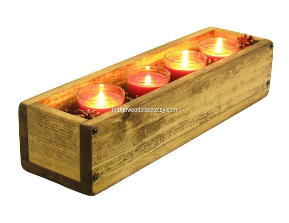 Wooden box wood crate small centerpiece by