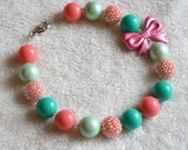 Mint, Teal, and Coral Pink Chunky Beaded Necklace: Girls