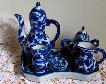 Miniature 10 piece Flow Blue porcelain Tea Set, teapot sugar creamer child/doll