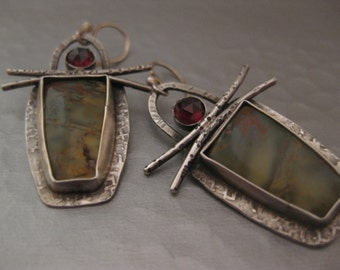 Cherry Creek Jasper and Garnet sterling silver dangle drop earrings
