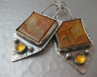 Cherry Creek Jasper and Citrine Sterling Silver Handmade Earrings