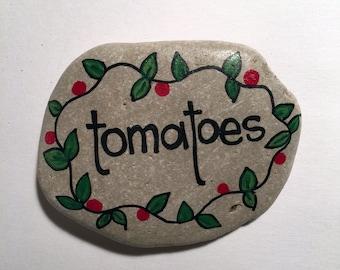 Tomatoes Handpainted Rock Garden Marker