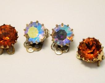 Vintage crystal earrings. Clip on earrings. 2 pairs.  Aurora borealis and golden brown