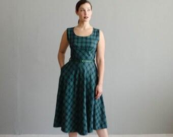 1950s Plaid Dress - Vintage 50s Gabardine Dress - Cooking Club Dress