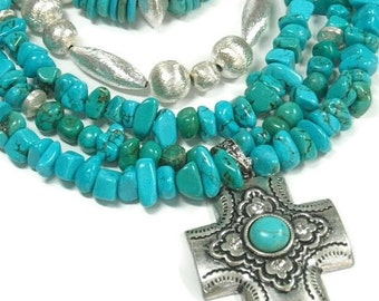 Turquoise Necklace, Genuine Turquoise, Multistrand, Multi Strand, Layered Turquoise, Real Turquoise, Chunky, Turquoise Jewelry, Statement