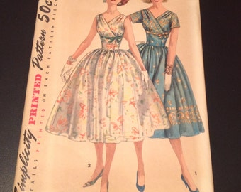 Vintage 1950s Misses' Full Skirt Dress with Ties at Midriff  - FACTORY FOLDED