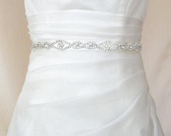 Elegant Big  Eyes Rhinestone Beaded Wedding Dress Sash Belt