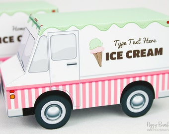 Ice Cream Truck Favor Box : Print at Home Full-Color Template | Cone Food Truck Gift Box | DIY Printable | Digital File - Instant Download