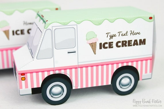 ice cream truck favor box print at home full color template. Black Bedroom Furniture Sets. Home Design Ideas