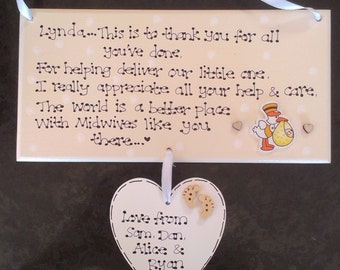 Personalised Midwives Midwife Doula New Baby Birth Thank You Poem Gift Plaque