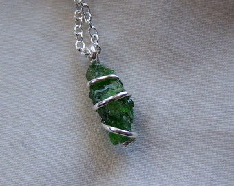 Wire Wrapped Chrome Diopside Crystal Pendant