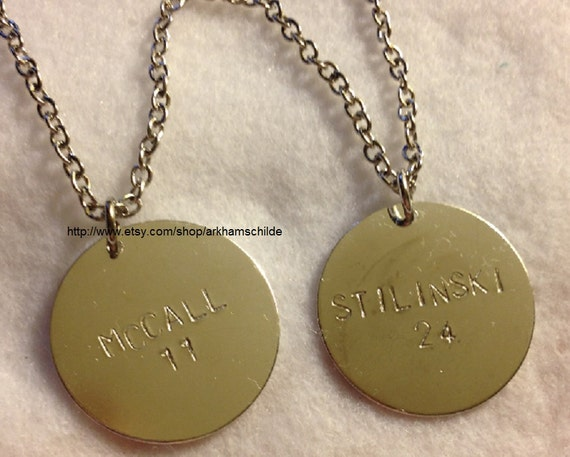 Two BFF McCall Stilinski Teen Wolf inspired tag charm necklaces