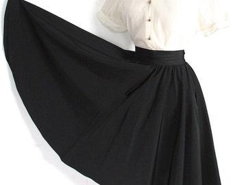Vintage 1940s Skirt // 40s Black High Waist Circle Skirt // Swing Time