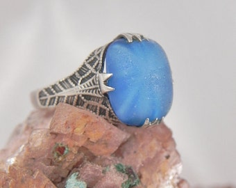 Vintage Pawn Blue Satin Glass Sterling Ring