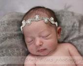 Swirl Pearl rhinestone headband  , Pearl headband, newborn headband , girls pearl headband , newborn pearl headband , photo prop,