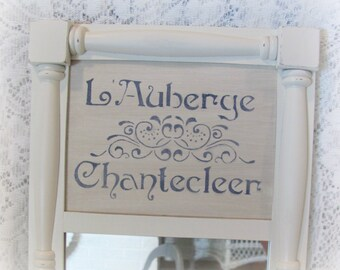 French Country Wall Mirror, Shabby Chic Antique White Mirror, Stenciled Wall Mirro