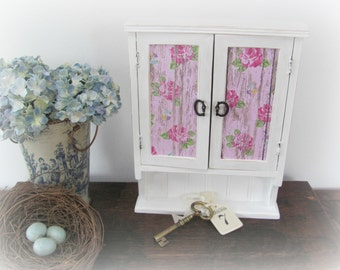 White and Pink Jewelry Box, Cottage White Key Holder Box, Decoupaged Box