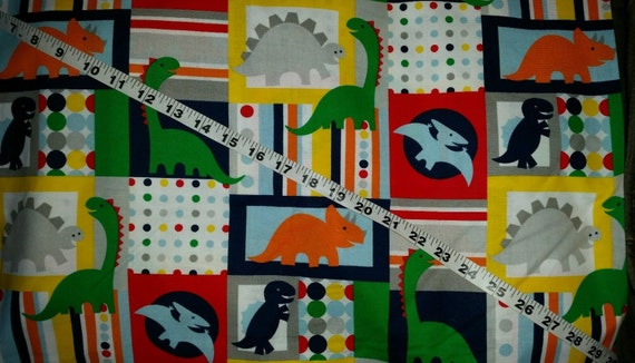Private kids fabric with dinosaurs patchwork dots t rex dino for Kids dinosaur fabric