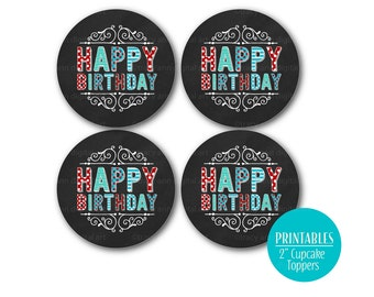 Red and Blue Happy Birthday Cupcake Toppers | Happy Birthday Circles | Birthday party circles | Printable DIY | 1003