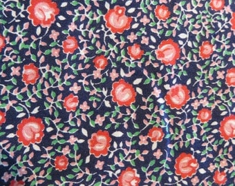 Vintage Fabric-Navy Floral-Feedsack-Yardage-Unused-Unwashed-BTY