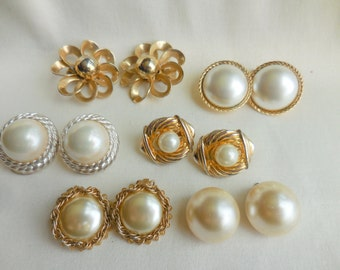 Lot of 6 Vintage Gold and PEARL Earrings 1 Signed VENDOME