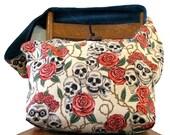 SKULL BAG - Crossbody Bag - Goth Bag - Skull and Roses - Hippie Bag - Over Shoulder Bag - Large Bag - Boho Bag - Vegan Bag - Sling Bag