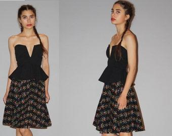 Vintage 1950s Novelty Neon Rainbow Birds Black Cotton Circle Skirt  - Vintage 50s Short Skirts - Vintage 1950s Cotton Skirt  - WB0420