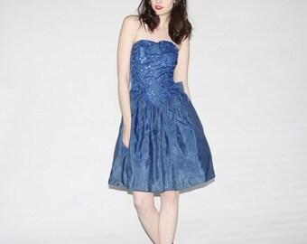 75% OFF FINAL SALE - Vintage Srapless Blue Sequin Prom Dress - 80s Blue Party Dresses - The Meegan Dress  - 1093