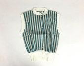 Vintage 1940s Blouse / 1940s Shirt / 1950s Blouse / Deadstock Shirt Cotton Blouse Stripe Shirt / Girls Size 12 / XXS XS / Rockabilly