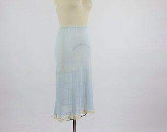 Vintage 1940s Lingerie / Rayon Slip / Blue Slip 1940s Half Slip 40s Slip / Rayon Lingerie / Deadstock Lingerie / Sheer Slip