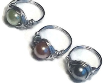 MADE to ORDER/Pearl/Stone/Crystal Bead Ring/Wire Wrapped Ring -MANY Many Beads to choose