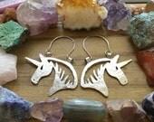 unicorn earrings, horse earrings, unicorn hoop earrings, equestrian earrings