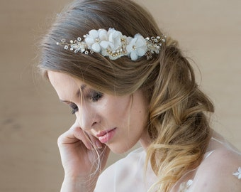 Bridal hair piece, Bridal headpiece, Wedding hair piece, Gold hair piece, hair vine, Bridal hair accessories, Bridal hair comb, Bohemian