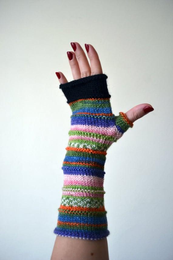 Purple Fingerless Gloves - Colorful Arm Warmers - Merino Wool Fingerless - Pastel Fashion nO 51.