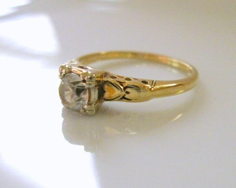 DASON Vintage 40s Art Deco Engagement Wedding Ring Set in 10 Karat Yellow Gold with Transitional Cut White Clear Paste Diamond