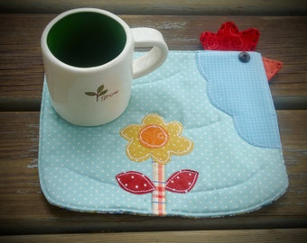 Mini Quilted chicken Mug Rug, country mug rug , large coaster, snack mat