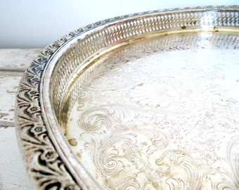 Vintage Silver Serving Tray - Lazy Susan