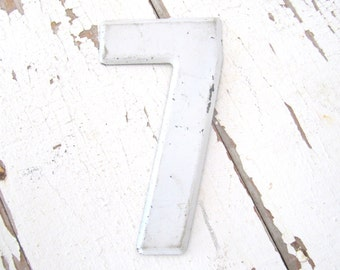 Vintage Small Metal Sign Number - 7