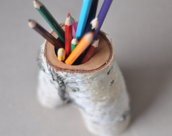 rustic birch branch pen holder
