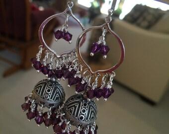 Jaipur Jhumkas-J448- Silver Arabesque Hoop Jhumkas with Amethyst Swarovski Crystals