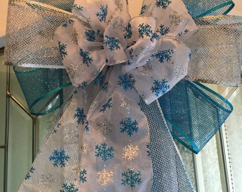 Large Winter Door Bow silver and teal mesh ribbons sheer white w/ silver and teal snowflakes snow flake