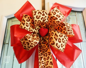 Large Valentine Door Bow Red and leopard print ribbon and a red felt heart center