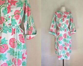 vintage vested gentress dress - PUMPKIN PATCH novelty print dress / M/L